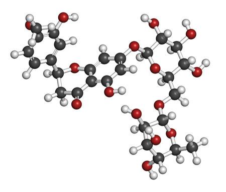 HIDROGENO: Hesperidina molécula flavanona cítricos. Los átomos se representan como esferas con codificación de colores convencionales: hidrógeno (blanco), carbón (gris), oxígeno (rojo).