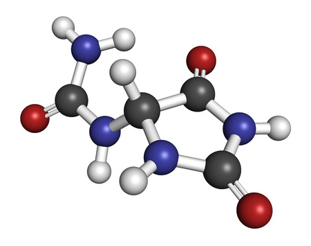 Allantoin molecule. Often used in cosmetics. Atoms are represented as spheres with conventional color coding: hydrogen (white), carbon (grey), oxygen (red), nitrogen (blue). Stock fotó