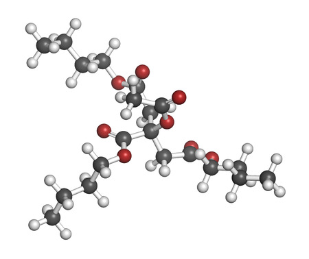citrate: Acetyl tributyl citrate (ATBC) plasticizer molecule. Biodegradable alternative to phthalate plasticizers. Atoms are represented as spheres with conventional color coding: hydrogen (white), carbon (grey), oxygen (red). Stock Photo