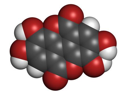 hidr�geno: El �cido el�gico suplemento diet�tico mol�cula. Los �tomos se representan como esferas con codificaci�n de colores convencionales: hidr�geno (blanco), carb�n (gris), ox�geno (rojo).