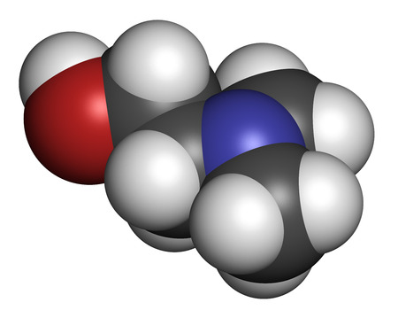 methyl: Dimethylaminoethanol (dimethylethanolamine, DMEA, DMAE) molecule. May have beneficial effects on health, including lifespan increase. Atoms are represented as spheres with conventional color coding: hydrogen (white), carbon (grey), oxygen (red), nitrogen  Stock Photo