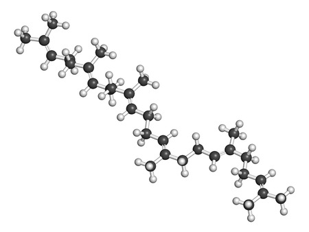 Squalene natural hydrocarbon molecule. Found in shark liver oil and number of plant sources. Atoms are represented as spheres with conventional color coding: hydrogen (white), carbon (grey).