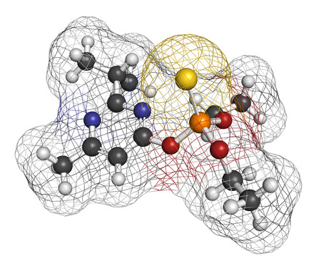 acetylcholinesterase: Diazinon (dimpylate) organophosphate insecticide molecule.
