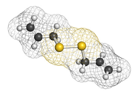disulfide: Diallyl disulfide garlic molecule. One of the compounds responsible for taste, smell and health effects of garlic. Atoms are represented as spheres with conventional color coding: hydrogen (white), carbon (grey), sulfur (yellow).
