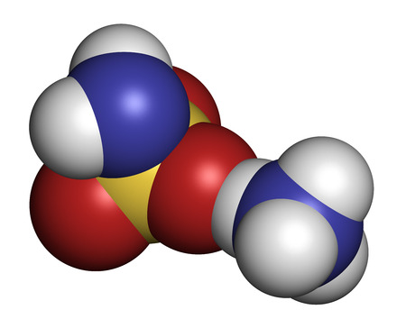 ammonium: Ammonium sulfamate herbicide (weed killer) molecule. Atoms are represented as spheres with conventional color coding: hydrogen (white), oxygen (red), nitrogen (blue), sulfur (yellow). Stock Photo