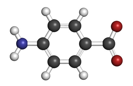 benzoic: 4-aminobenzoic acid (PABA, aminobenzoate) molecule.  Atoms are represented as spheres with conventional color coding: hydrogen (white), carbon (grey), oxygen (red), nitrogen (blue).
