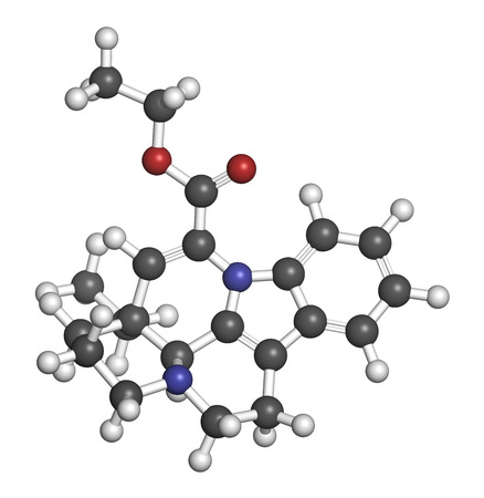 derivative: Vinpocetine molecule. Semisynthetic vinca alkaloid derivative, used as drug and as dietary supplement. Atoms are represented as spheres with conventional color coding: hydrogen (white), carbon (grey), oxygen (red), nitrogen (blue). Stock Photo