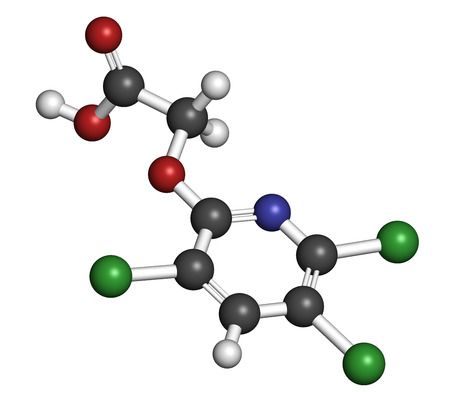 broadleaf: Triclopyr herbicide (broadleaf weed killer) molecule. Atoms are represented as spheres with conventional color coding: hydrogen (white), carbon (grey), oxygen (red), nitrogen (blue), chlorine (green).