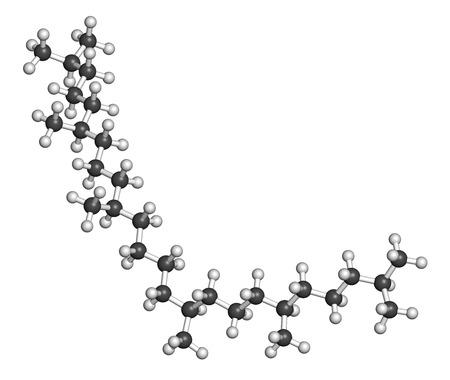 Squalane Molekül. Gesättigten Verbindung, von Squalen ableiten. Verwendet in der Kosmetik als Weichmacher und Feuchtigkeitsspender. Wasserstoff (weiß): Atome sind als Kugeln mit konventionellen Farbcodierung dargestellt. Standard-Bild - 39804776