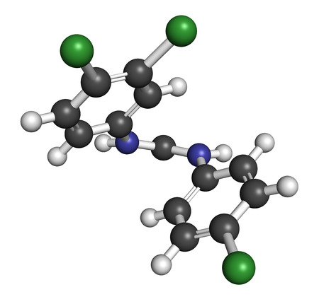 antibacterial: Triclocarban antibacterial agent molecule. Often used in antibacterial soaps and lotions. Atoms are represented as spheres with conventional color coding: hydrogen (white), carbon (grey), oxygen (red), nitrogen (blue), chlorine (green).