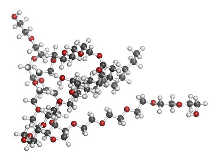 emulsifier: Polysorbate 80 surfactant and emulsifier molecule. Used in food (E433), cosmetics and medicines. Atoms are represented as spheres with conventional color coding: hydrogen (white), carbon (grey), oxygen (red).