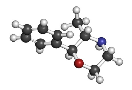 stimulant: Phenmetrazine stimulant drug molecule (amphetamine class). Used as stimulant and appetite suppressant. Atoms are represented as spheres with conventional color coding: hydrogen (white), carbon (grey), oxygen (red), nitrogen (blue).