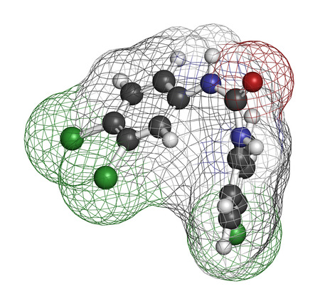 antibacterial soap: Triclocarban antibacterial agent molecule. Often used in antibacterial soaps and lotions. Atoms are represented as spheres with conventional color coding: hydrogen (white), carbon (grey), oxygen (red), nitrogen (blue), chlorine (green).
