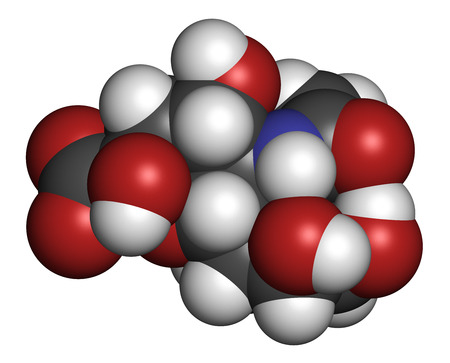 nana: Sialic acid (N-acetylneuraminic acid, Neu5Ac, NANA) molecule. Atoms are represented as spheres with conventional color coding: hydrogen (white), carbon (grey), oxygen (red), nitrogen (blue).