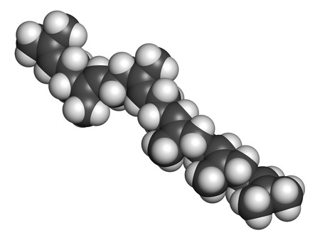 adjuvant: Squalene natural hydrocarbon molecule. Found in shark liver oil and number of plant sources. Atoms are represented as spheres with conventional color coding: hydrogen (white), carbon (grey).