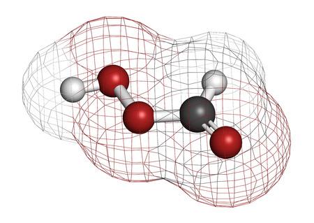 formic: �cido perf�rmico (PFA) mol�cula desinfectante. Se utiliza como desinfectante y esterilizador. Los �tomos se representan como esferas con codificaci�n de colores convencionales: hidr�geno (blanco), carb�n (gris), ox�geno (rojo).