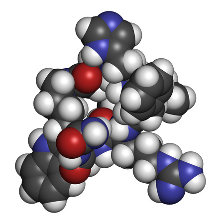 peptide: Melanotan II synthetic tanning drug molecule. Not approved as drug. Atoms are represented as spheres with conventional color coding: hydrogen (white), carbon (grey), oxygen (red), nitrogen (blue).