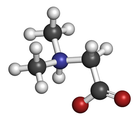 enhancer: Dimethylglycine (DMG) molecule. Methylated derivative of glycine, used in performance enhancing nutritional supplements. Atoms are represented as spheres with conventional color coding: hydrogen (white), carbon (grey), oxygen (red), nitrogen (blue). Stock Photo