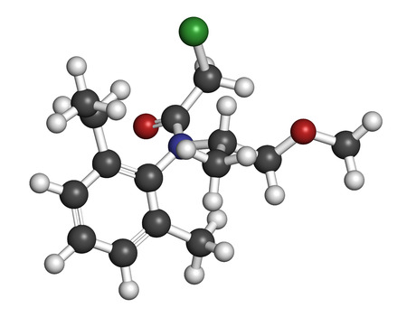 cyclase: Metolachlor herbicide (weed killer) molecule. Atoms are represented as spheres with conventional color coding: hydrogen (white), carbon (grey), oxygen (red), nitrogen (blue), chlorine (green).