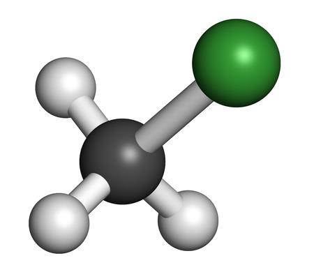HIDROGENO: El clorometano (cloruro de metilo) molécula. Los átomos se representan como esferas con codificación de colores convencionales: hidrógeno (blanco), carbón (gris), cloro (verde).