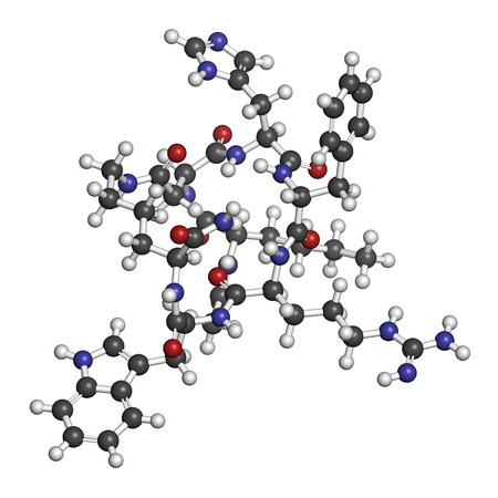 erectile: Melanotan II synthetic tanning drug molecule. Not approved as drug. Atoms are represented as spheres with conventional color coding: hydrogen (white), carbon (grey), oxygen (red), nitrogen (blue).