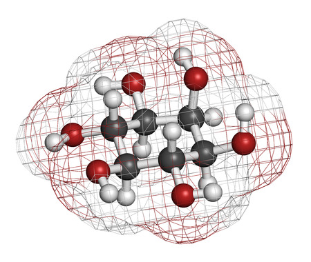 hydrogen bomb: inositol (myo-inositol) molecule. Inositol and its phosphates play essential roles in a number of biological processes. Atoms are represented as spheres with conventional color coding: hydrogen (white), carbon (grey), oxygen (red).