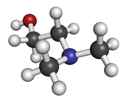 amine: Dimethylaminoethanol (dimethylethanolamine, DMEA, DMAE) molecule. May have beneficial effects on health, including lifespan increase. Atoms are represented as spheres with conventional color coding: hydrogen (white), carbon (grey), oxygen (red), nitrogen  Stock Photo