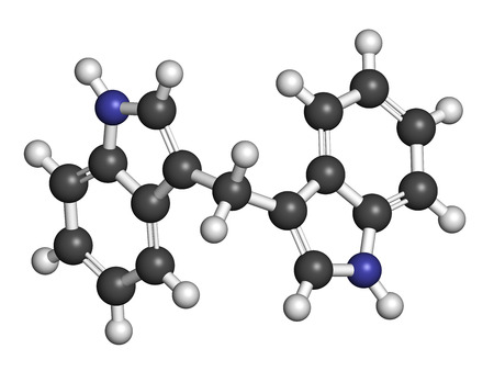 derivative: Diindolylmethane (3,3-DIM, DIM) molecule. Derivative of indole-3-carbinol, found in broccoli, cabbage, kale, etc. May have cancer preventive or anticancer effects. Atoms are represented as spheres with conventional color coding: hydrogen (white), carbon  Stock Photo