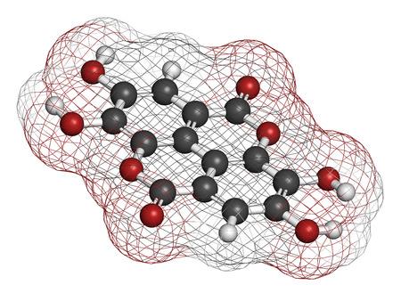 hidrogeno: El �cido el�gico suplemento diet�tico mol�cula. Los �tomos se representan como esferas con codificaci�n de colores convencionales: hidr�geno (blanco), carb�n (gris), ox�geno (rojo).