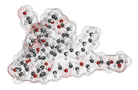 crohn: Polysorbate 80 surfactant and emulsifier molecule. Used in food (E433), cosmetics and medicines. Atoms are represented as spheres with conventional color coding: hydrogen (white), carbon (grey), oxygen (red).
