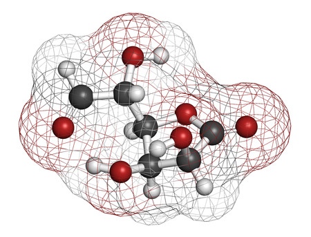 energy drinks: Glucuronolactone molecule. Used in food supplements and energy drinks. Atoms are represented as spheres with conventional color coding: hydrogen (white), carbon (grey), oxygen (red). Stock Photo