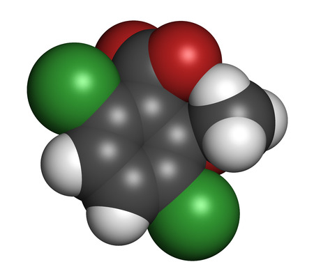 benzoic: Dicamba herbicide molecule. Used in weed control. Atoms are represented as spheres with conventional color coding: hydrogen (white), carbon (grey), oxygen (red), chlorine (green).