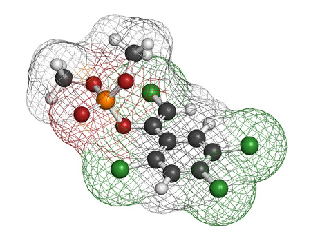 carcinogen: Tetrachlorvinphos organophosphate insecticide molecule. Atoms are represented as spheres with conventional color coding: hydrogen (white), carbon (grey), oxygen (red), chlorine (green), phosphorus (orange). Stock Photo