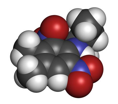 hidrogeno: Mol�cula herbicida Pendimetalina. Los �tomos se representan como esferas con codificaci�n de colores convencionales: hidr�geno (blanco), carb�n (gris), ox�geno (rojo), nitr�geno (azul).