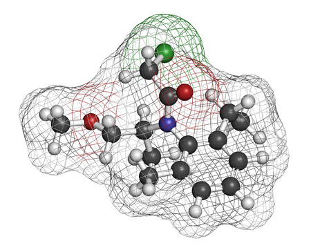 Metolachlor herbicide (weed killer) molecule. Atoms are represented as spheres with conventional color coding: hydrogen (white), carbon (grey), oxygen (red), nitrogen (blue), chlorine (green).