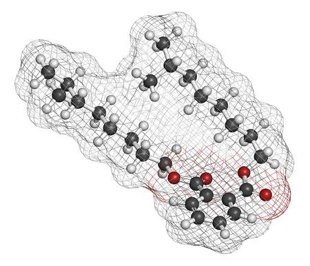 hidrogeno: Ftalato de diisononilo (DINP) mol�cula de plastificante. Los �tomos se representan como esferas con codificaci�n de colores convencionales: hidr�geno (blanco), carb�n (gris), ox�geno (rojo). Foto de archivo