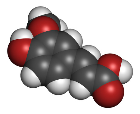 oxidative: Ferulic acid herbal antioxidant molecule. Atoms are represented as spheres with conventional color coding: hydrogen (white), carbon (grey), oxygen (red).