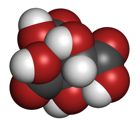 Hydroxycitric acid  (HCA, hydroxycitrate) molecule. Used as weight loss nutritional supplement.  Atoms are represented as spheres with conventional color coding: hydrogen (white), carbon (grey), oxygen (red).