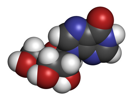 nucleoside: Inosine nucleoside molecule. Found in tRNA. Used as fitness nutritional supplement. Atoms are represented as spheres with conventional color coding: hydrogen (white), carbon (grey), oxygen (red), nitrogen (blue). Stock Photo