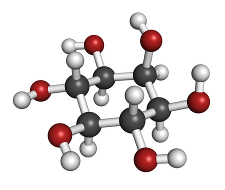 inositol (myo-inositol) molecule. Inositol and its phosphates play essential roles in a number of biological processes. Atoms are represented as spheres with conventional color coding: hydrogen (white), carbon (grey), oxygen (red).