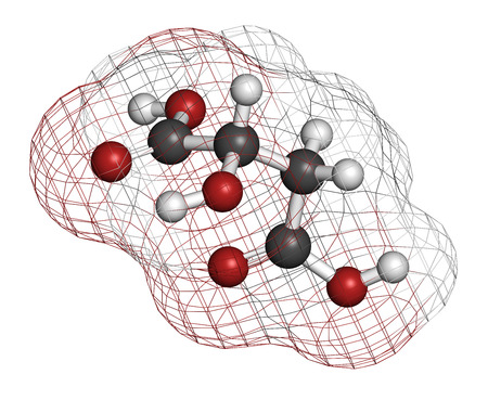 sourness: Malic acid fruit acid molecule. Present in apples, grapes, rhubarb, etc and contributes to the sour taste of these. Atoms are represented as spheres with conventional color coding: hydrogen (white), carbon (grey), oxygen (red).
