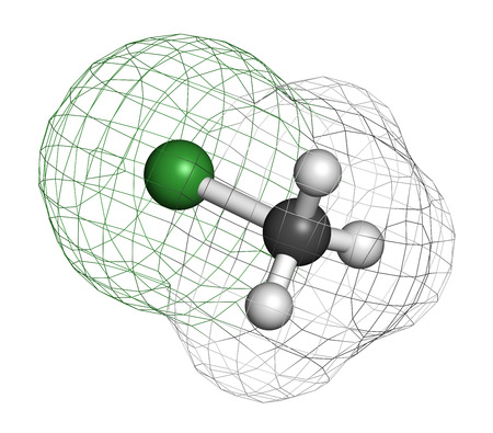 methyl: Chloromethane (methyl chloride) molecule. Atoms are represented as spheres with conventional color coding: hydrogen (white), carbon (grey), chlorine (green). Stock Photo