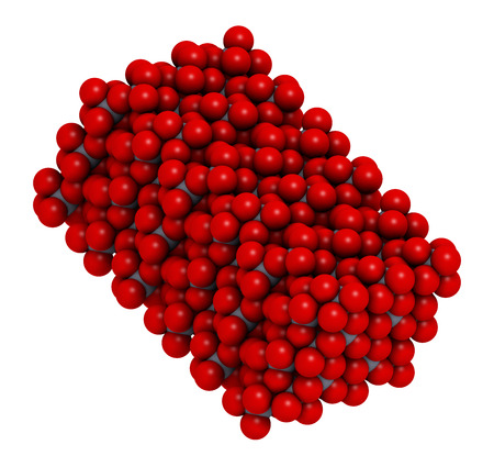 oxide: Corundum (Aluminium oxide), crystal structure. Ruby gems consist of red transparent corundum, sapphire from other color varieties of transparent corundum. Oxygen shown as red spheres, aluminum as grey spheres.