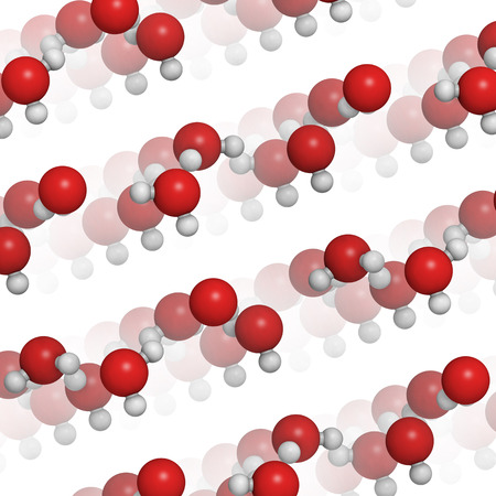 coded: Ice (frozen water, hexagonal), crystal structure. Atoms shown as color coded spheres: oxygen, red; hydrogen, white. Stock Photo
