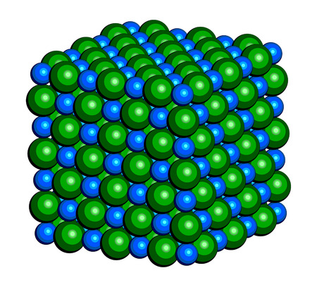 salt crystal: Sodium chloride (rock salt, halite, table salt), crystal structure. Atoms shown as color-coded spheres (Na, blue; Cl, green).