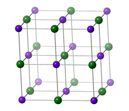 lethal: Potassium chloride (sylvite) mineral, crystal structure. Used in fertilizer, as drug in treatment of hypokalemia and in lethal injections. Atoms are shown as conventionally colored spheres (K, purple; Cl, green).