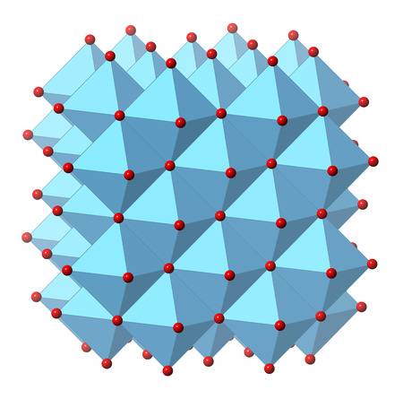 Calcium oxide (CaO, quicklime, burnt lime), crystal structure. Essential ingredient of cement. Oxygen atom shown as red spheres, calcium as blue polyhedra. Stock Photo