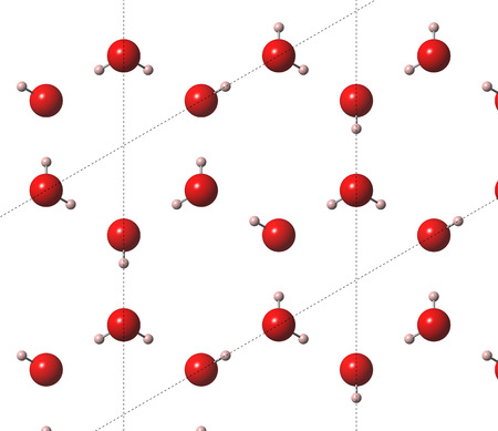 coded: Ice (frozen water, hexagonal), crystal structure. Atoms are shown as color coded spheres (hydrogen pink, oxygen red). Lines indicate unit cells.