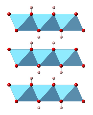 hydroxide: Portlandite (calcium hydroxide, Ca(OH)2, slaked lime, hydrated lime) mineral, crystal structure. Atoms shown as spheres and polyhedra (oxygen, red; hydrogen, pink; calcium, blue).