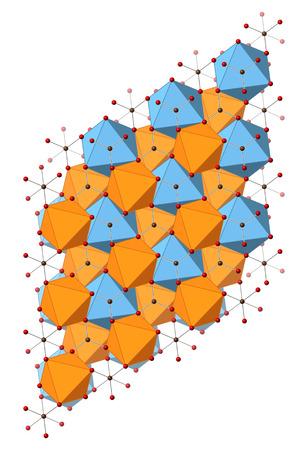 calcium carbonate: Dolomite (calcio carbonato di magnesio, CaMg (CO3) 2) minerale, struttura cristallina. Atomi mostrati come sfere e poliedri.